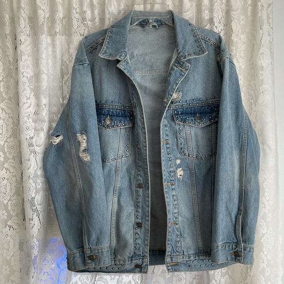 Free People Studded Denim Jacket